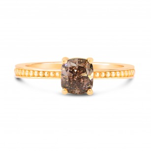 Rose gold Fancy Dark Pink Brown Cushion Diamond Solitaire Ring, SKU 192925
