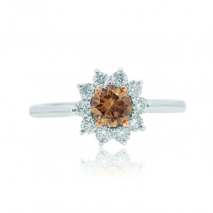Champagne and White Diamond Basket Halo Ring, SKU 1948R (0.85Ct TW)