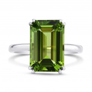 5.67cts Green Tourmaline Emerald shape Solitaire Ring, SKU 196641 (5.67Ct)