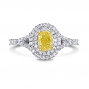 Platinum Fancy Intense Yellow Oval Diamond Double Halo Ring, SKU 197139 (1.02Ct TW)