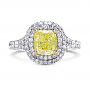 Lovely Yellow Cushion Diamond Double Halo Ring, SKU 210870 (1.83Ct TW)