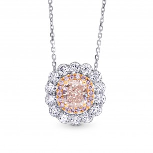 Light Brown Pink Diamond Halo Pendant, SKU 210888 (1.76Ct TW)