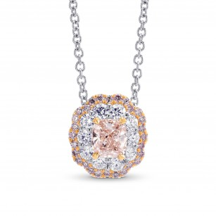 Pink Cushion Diamond Double Halo Pendant, SKU 211854 (0.80Ct TW)
