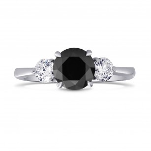 Black & White Diamond Round Brillant 3 Stones Ring, SKU 220901 (1.79Ct TW)