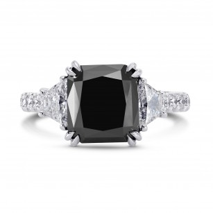 Natural unheated Fancy Black Diamond Engagement Ring, SKU 221969 (6.34Ct TW)
