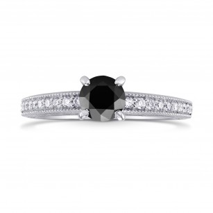 Black Diamond Vintage Style Solitaire & Pave Ring, SKU 223586 (0.86Ct TW)