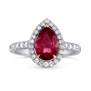 Unheated Pear Ruby and Diamond Halo Ring, SKU 227897 (2.49Ct TW)