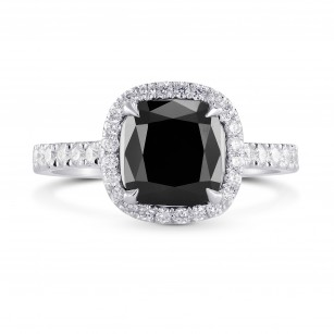 Fancy Black Cushion Diamond Halo Ring, SKU 228930 (2.87Ct TW)