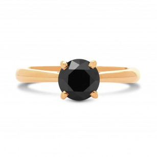 Rose Gold (Unheated) Fancy Black Round Diamond Solitaire Ring, SKU 235943