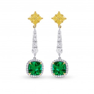 Emerald Gemstone & Yellow Diamond Drop Earrings, SKU 242445 (3.82Ct TW)
