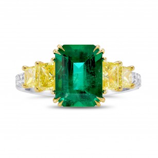 Green Emerald and Yellow Diamond Side Stones Ring, SKU 243182 (3.56Ct TW)