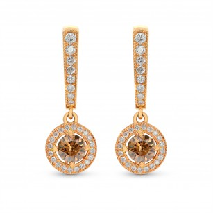 Fancy Dark Orangy Brown Round Diamond Halo Drop Earrings, SKU 243388 (1.47Ct TW)