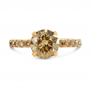 Fancy Yellow Brown Round Diamond Engagement Ring, SKU 243449 (2.77Ct TW)