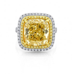Extraordinary Fancy Yellow Cushion Diamond Ring, SKU 243595 (12.13Ct TW)