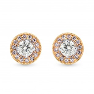 White and Pink Diamond Halo Earstuds, SKU 246216 (0.35Ct TW)