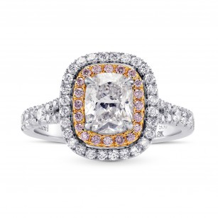 Colorless Cushion & Pink Diamond Halo Ring, SKU 246417 (1.66Ct TW)