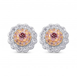 Argyle Fancy Pink Diamond Floral Halo Earrings, SKU 247833 (1.07Ct TW)