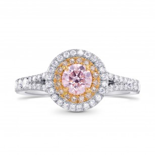 Round Light Pink Diamond Double Halo Ring, SKU 249665 (0.84Ct TW)