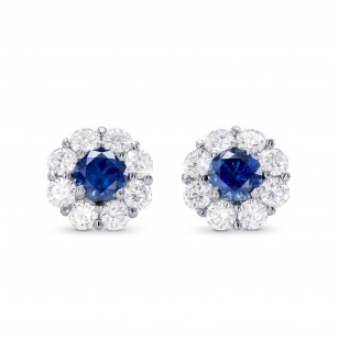 Sapphire & Diamond Floral Halo Earrings, SKU 249669 (1.80Ct TW)