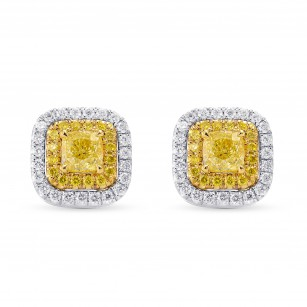 Fancy Yellow Cushion Double Halo Earrings, SKU 249853 (1.03Ct TW)