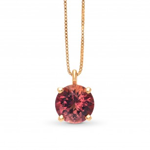 Round Pink Tourmaline Solitaire Pendant, SKU 250990 (1.14Ct TW)