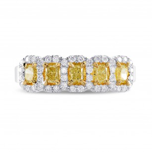 Fancy Light Yellow Radiant Diamond 5 Stone Ring, SKU 251949 (0.96Ct TW)