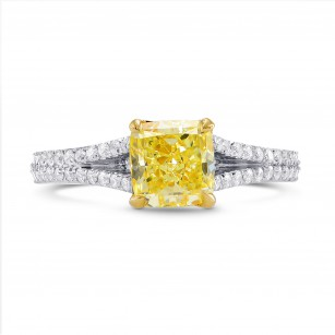 Fancy Yellow Cushion Diamond Ring, SKU 254732 (1.50Ct TW)