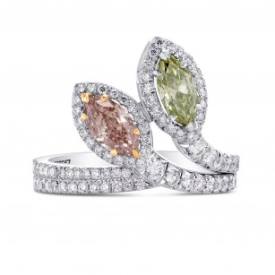Extraordinary Pink & Green Marquise Diamond Ring, SKU 255557 (1.60Ct TW)