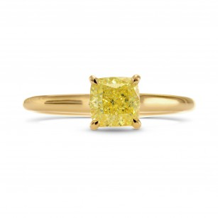Fancy Intense Yellow Cushion Diamond Solitaire Ring, SKU 257234 (1.03Ct TW)
