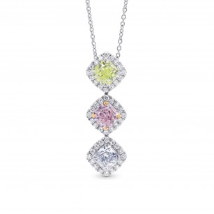 Extraordinary Green, Pink & Blue Cushion Diamond Drop Halo Pendant, SKU 257583 (1.93Ct TW)