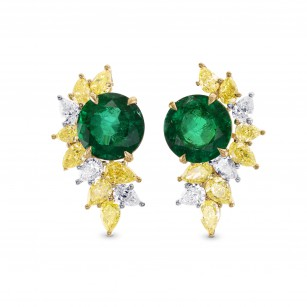 Extraordinary Round Emerald & Yellow Diamond Earrings, SKU 257887 (17.42Ct TW)