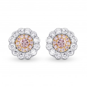 Fancy Pink & White Diamond Pave Flower Earrings, SKU 258123 (0.53Ct TW)