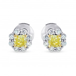 Fancy Yellow Radiant Diamond Basket Halo Earrings, SKU 258973 (0.67Ct TW)