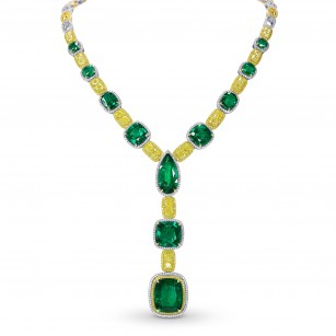 Extraordinary Emerald & Yellow Diamond  Necklace, SKU 259205 (64.64Ct TW)