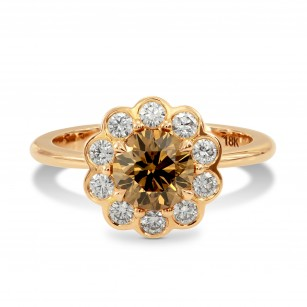 Fancy Brown Champagne Diamond Floral Halo Ring, SKU 2612R (1.35Ct TW)