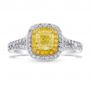 Fancy Yellow Cushion Diamond Halo Ring, SKU 262168 (1.27Ct TW)