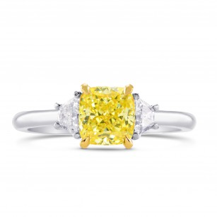 Fancy Yellow Cushion & Trapezoid Diamond 3 Stone Ring, SKU 262169 (1.43Ct TW)