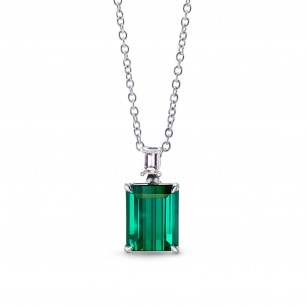 Green Tourmaline & Diamond Drop Pendant, 商品編號 262816 (1.69克拉)