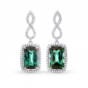 Green Tourmaline & Diamond Drop Earrings, SKU 262819 (6.91Ct TW)