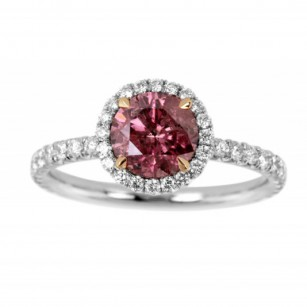 Fancy Deep Pink Round Diamond Halo Ring, SKU 263745 (1.58Ct TW)
