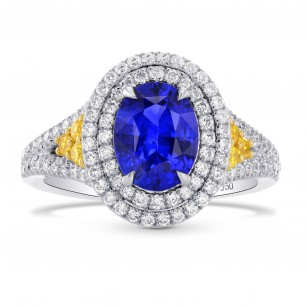 Oval Sapphire & Yellow Diamond Accent Halo Ring, SKU 264520 (2.30Ct TW)