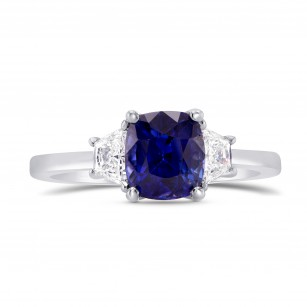 Unheated Sapphire Cushion & Trapezoid Diamond Ring with Yellow Diamond Accent, SKU 264522 (2.16Ct TW)