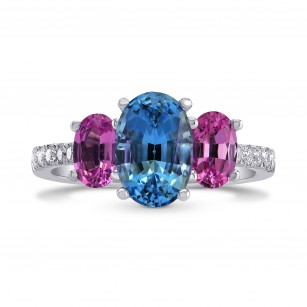 Blue Aquamarine & Pink Sapphire Oval 3 Stone Diamond Ring, SKU 264875 (2.72Ct TW)