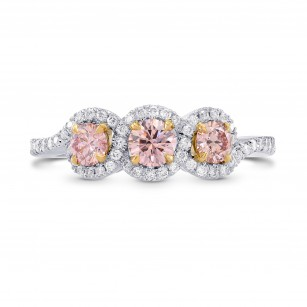Argyle Fancy Pink Diamond 3 Stone Ring, SKU 264877 (0.86Ct TW)
