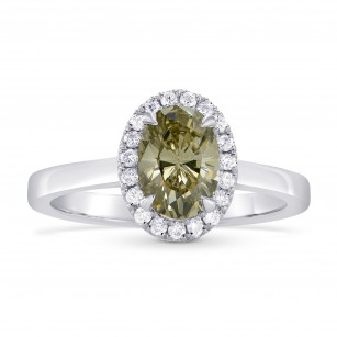 Fancy Brownish Greenish Yellow Oval Diamond Halo Ring, SKU 265404 (1.14Ct TW)
