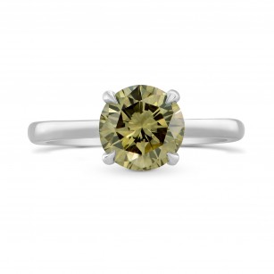 Fancy Brown Greenish Yellow Round Diamond Solitaire Ring, SKU 265539 (1.64Ct TW)