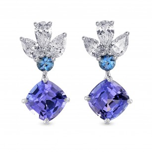 Tanzanite Cushion, Aquamarine & Diamond Drop Earrings, SKU 266540 (2.84Ct TW)
