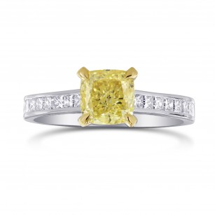 Fancy Yellow Cushion & Princess Diamond Ring, SKU 2667R (0.65Ct TW)