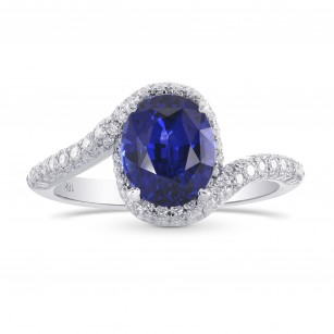 Oval Sapphire & Diamond Cross-over Halo Ring, SKU 267194 (2.62Ct TW)