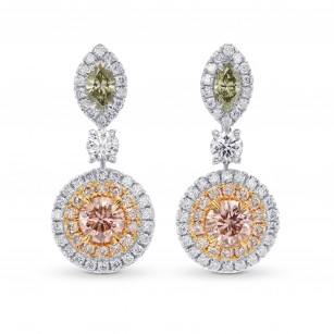 Fancy Pink and Green Diamond Drop Earrings, SKU 267353 (1.10Ct TW)
